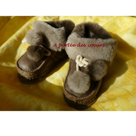 Papoutki chaussons en peau de mouton 21